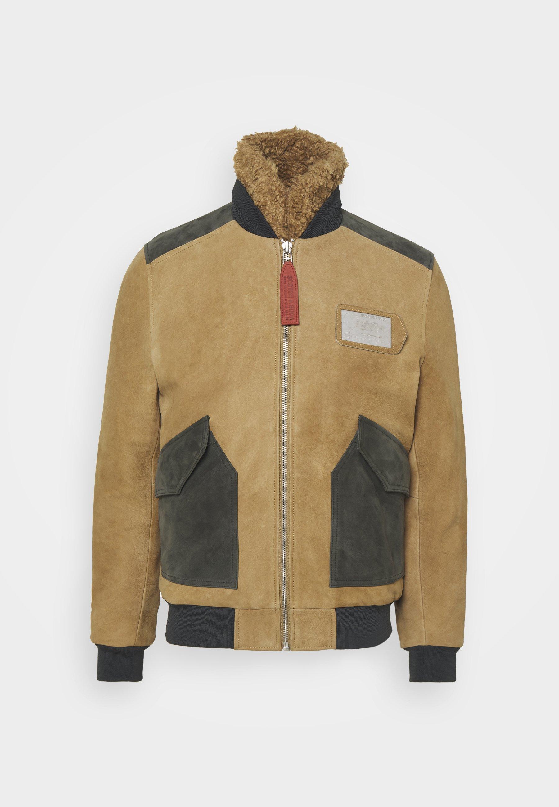 Men COLOURBLOCK AVIATOR JACKET - Leather jacket