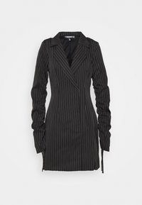 Missguided Tall - RUCHED SLEEVE PINSTRIPE - Blazer - black - 0
