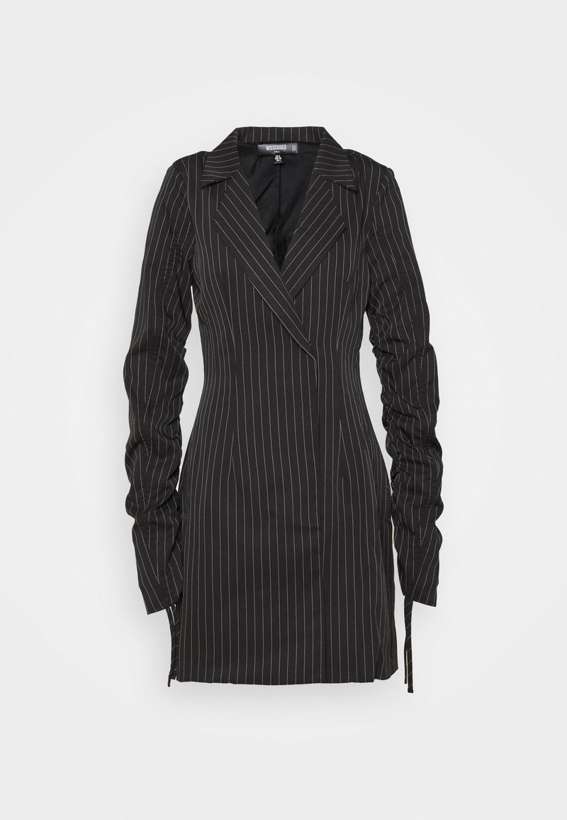 Missguided Tall - RUCHED SLEEVE PINSTRIPE - Blazer - black