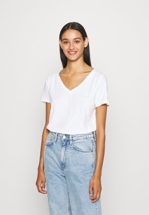 CHEST SIGN OFF V NECK TEE - T-shirt basic - white