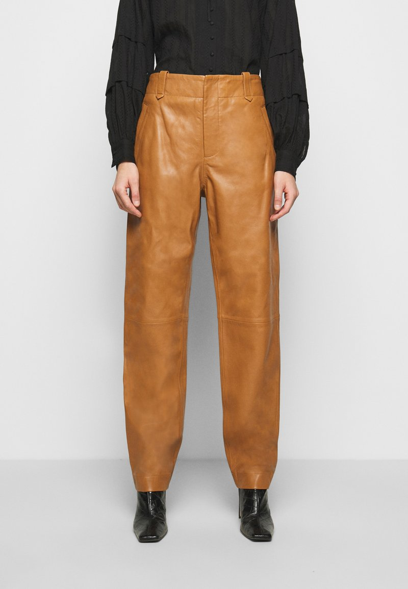 Alberta Ferretti - Leather trousers - brown