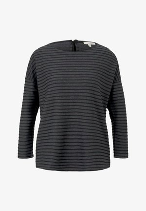 LOOSE STRUCTURED STRIPE TEE - Long sleeved top - black structure stripe