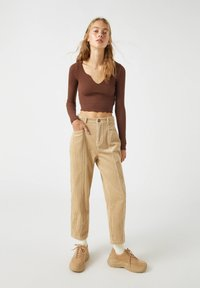 PULL&BEAR - Long sleeved top - dark brown - 1