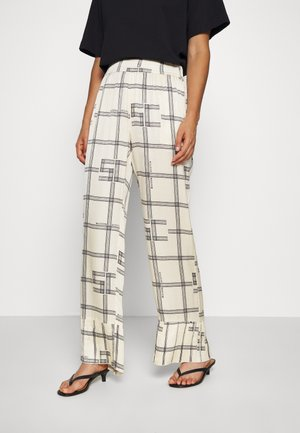 PYJAMA PANTS WITH PRINT AND PLEATED BOTTOM PART - Trousers - combo
