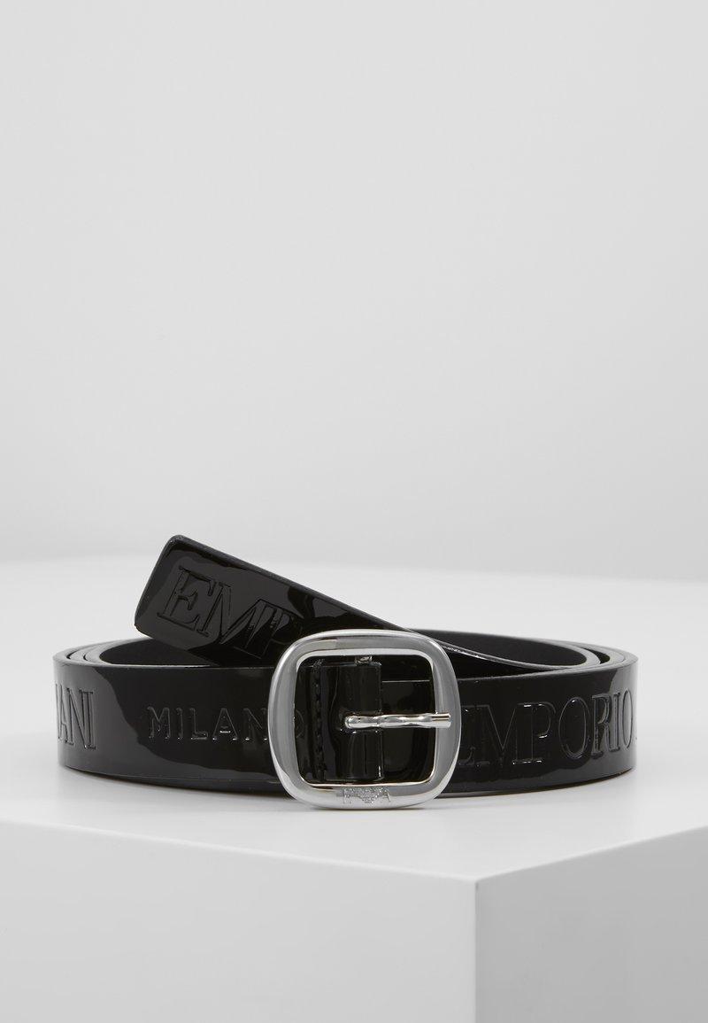 Emporio Armani - PATENT NARROW LOGO BELT - Belt - nero