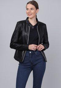 Basics and More - Leather jacket - black - 0