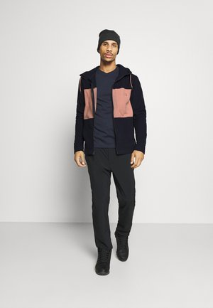 MEN'S BLOCKED HOODIE - Fleecetakki - dark blue/pink