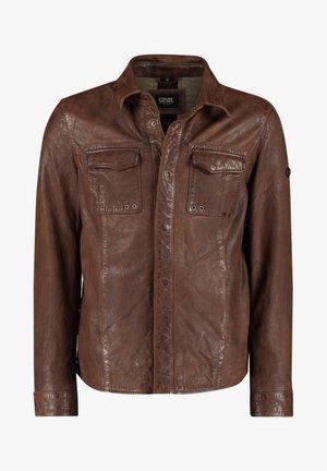 Leather jacket - braun meliert