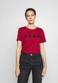 DKNY - FOUNDATION LOGO TEE - Print T-shirt - red/black - 0