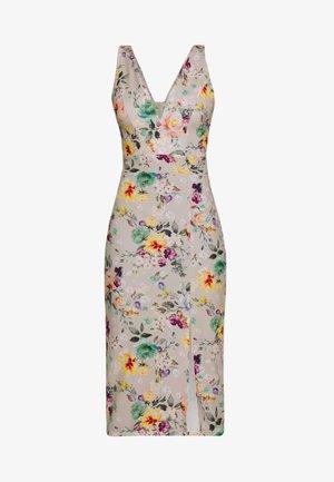 V NECK SLIT DRESS - Vestido informal - floral beige