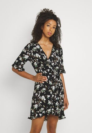 VILANA DITSY FLOUNCE WRAP DRESS - Vestido informal - black
