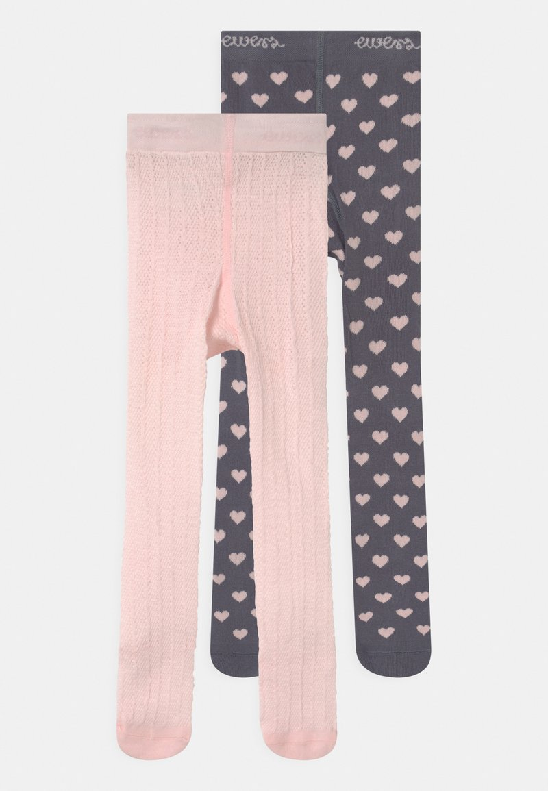 Ewers - HEARTS 2 PACK - Tights - grey/pink