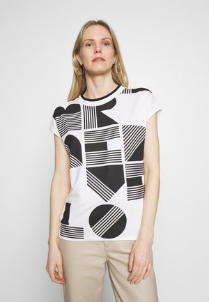 SALPHA PRINT - Print T-shirt - white/black
