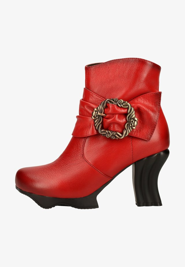 High heeled ankle boots - rouge