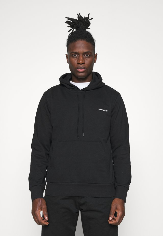 HOODED SCRIPT EMBROIDERY - Sweatshirt - black