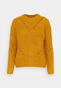 Vero Moda Petite - VMPACA POINTELLE O-NECK BLOUSE  - Strikkegenser - buckthorn brown/white melange - 0