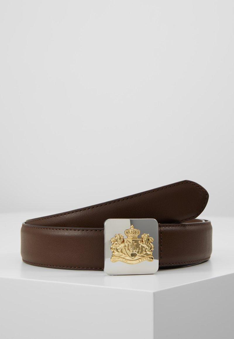 Lauren Ralph Lauren - SUPER SMOOTH CREST PLAQUE - Pásek - dark brown