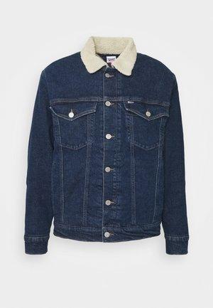 OVERSIZE SHERPA - Kurtka jeansowa - dark blue