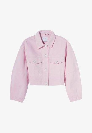 MIT PUFFÄRMELN  - Denim jacket - pink