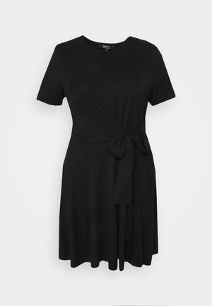 TIE WAIST DRESS - Jersey dress - black
