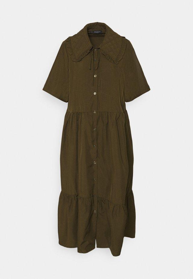 SLFRONDA LONG SHIRT DRESS - Shirt dress - olive night