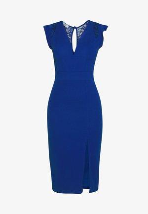 FRILL SLEEVE V PLUNGE NECK DRESS - Koktejlové šaty/ šaty na párty - cobalt blue