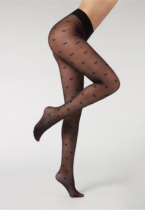 Tights - schwarz - 4680 - black polka dot bows