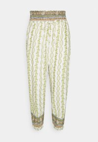 Cream - OLINA PANT - Trousers - green stripe wallpaper - 0