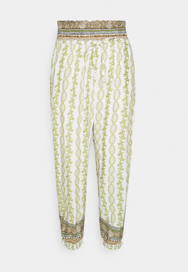 Cream - OLINA PANT - Trousers - green stripe wallpaper