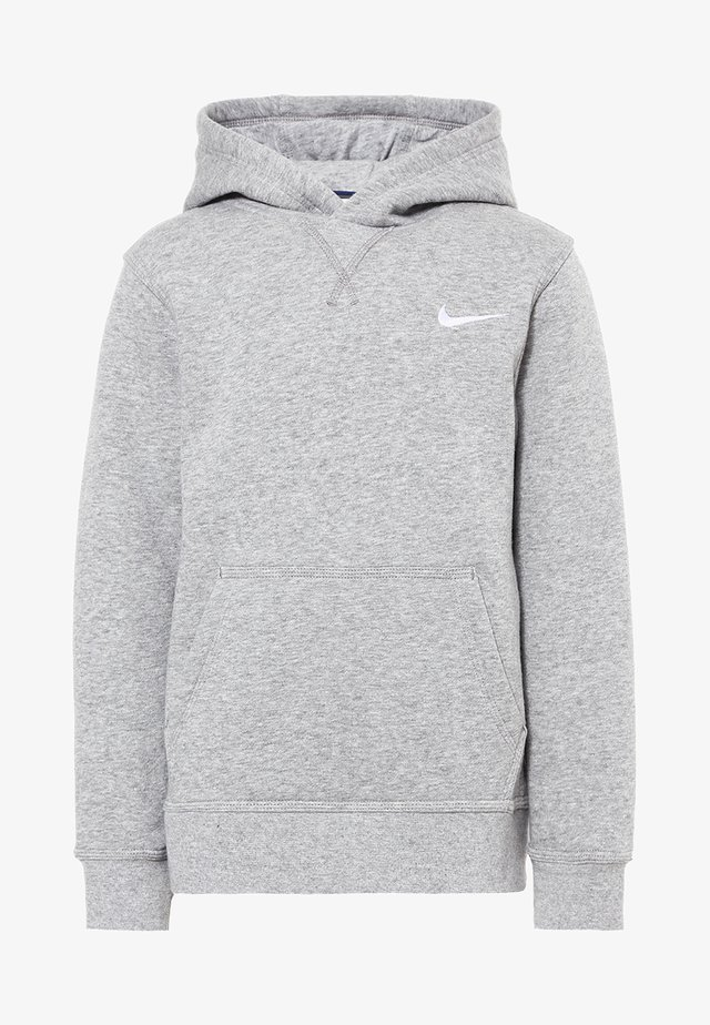 Hoodie - dk grey heather/white