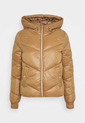ONLHOLLY HOODED PUFFER JACKET - Lehká bunda - toasted coconut