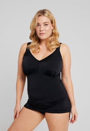 ESSENTIALS MOULDED ADJUSTABLE SIDE TANKINI - Haut de bikini - black