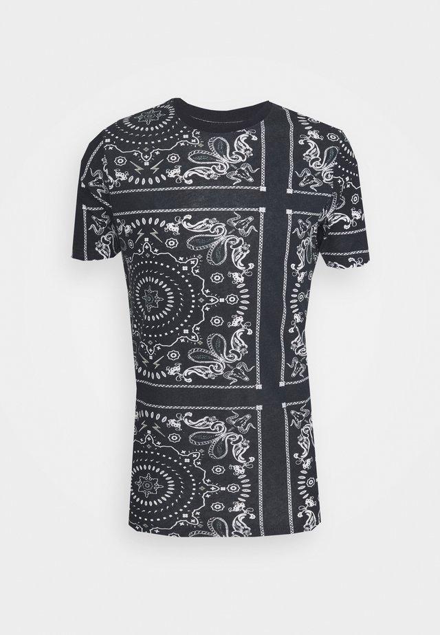 FENDER - Print T-shirt - rich navy/optic white/grey