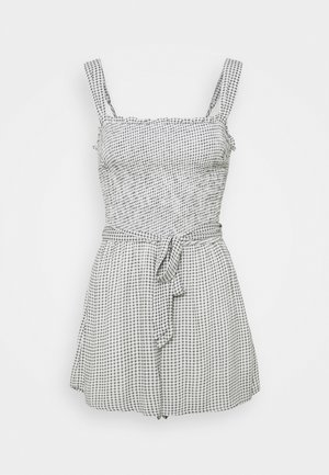 TIE STRAP SMOCKED ROMPER - Mono - light grey