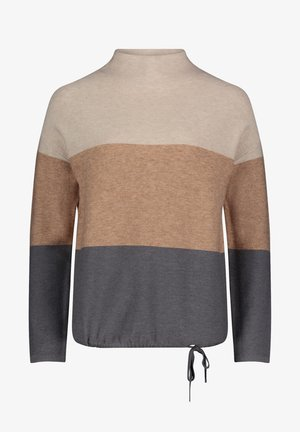 MIT COLOR BLOCKING - Jumper - grau/camel