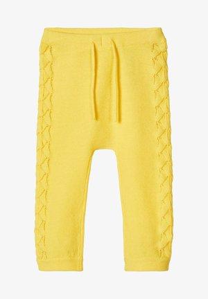 STRICKHOSE LOCHMUSTER BAUMWOLL - Trousers - aspen gold