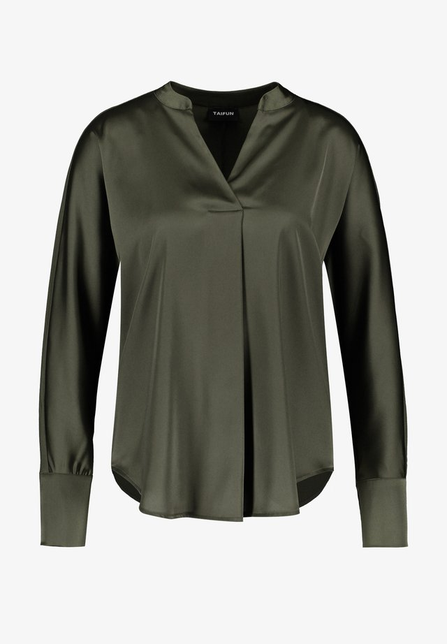 MIT SATIN-FRONT - Blouse - olive