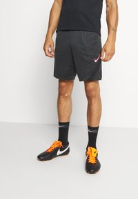 Nike Performance - DRY ACADEMY SHORT - Korte sportsbukser - dark smoke grey heather/black/hyper pink - 1