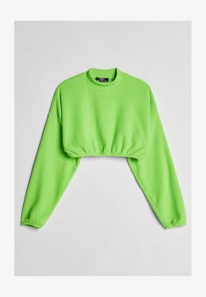 MIT PATENTMUSTER UND GUMMIZUG  - Long sleeved top - green