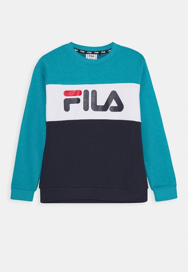 CARLOTTA BLOCKED CREW SHIRT - Sweatshirt - black iris/capri breeze/bright white