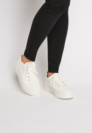 WHITE CANVAS CHUNKY LACE-UP TRAINERS - Trainers - white