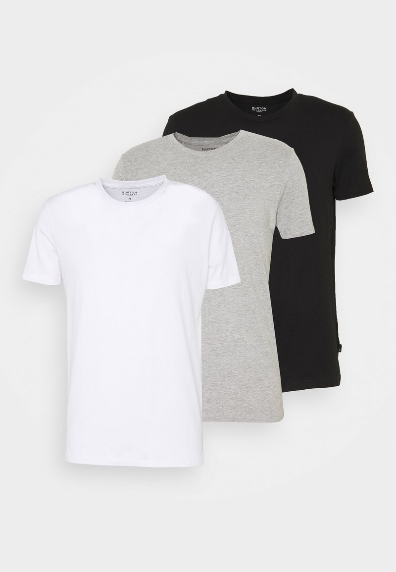Burton Menswear London - SHORT SLEEVE CREW 3 PACK - T-Shirt basic - black/white/light grey