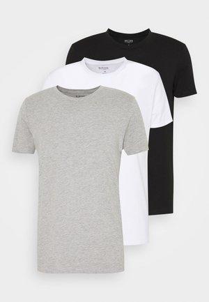 SHORT SLEEVE CREW 3 PACK - T-paita - black/white/light grey