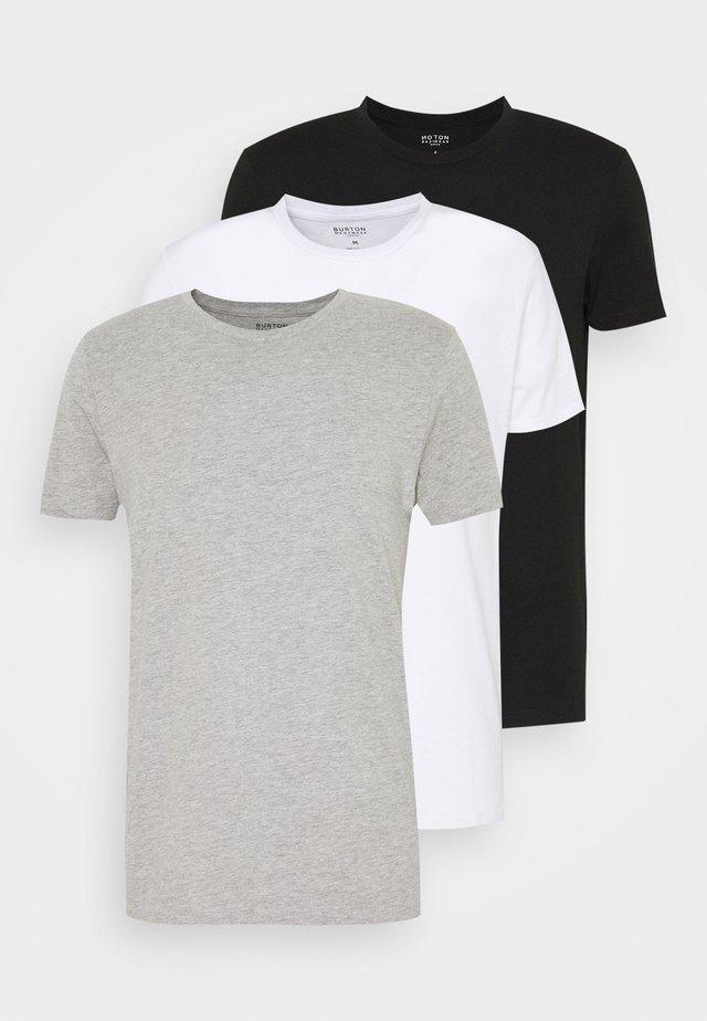 SHORT SLEEVE CREW 3 PACK - Basic T-shirt - black/white/light grey