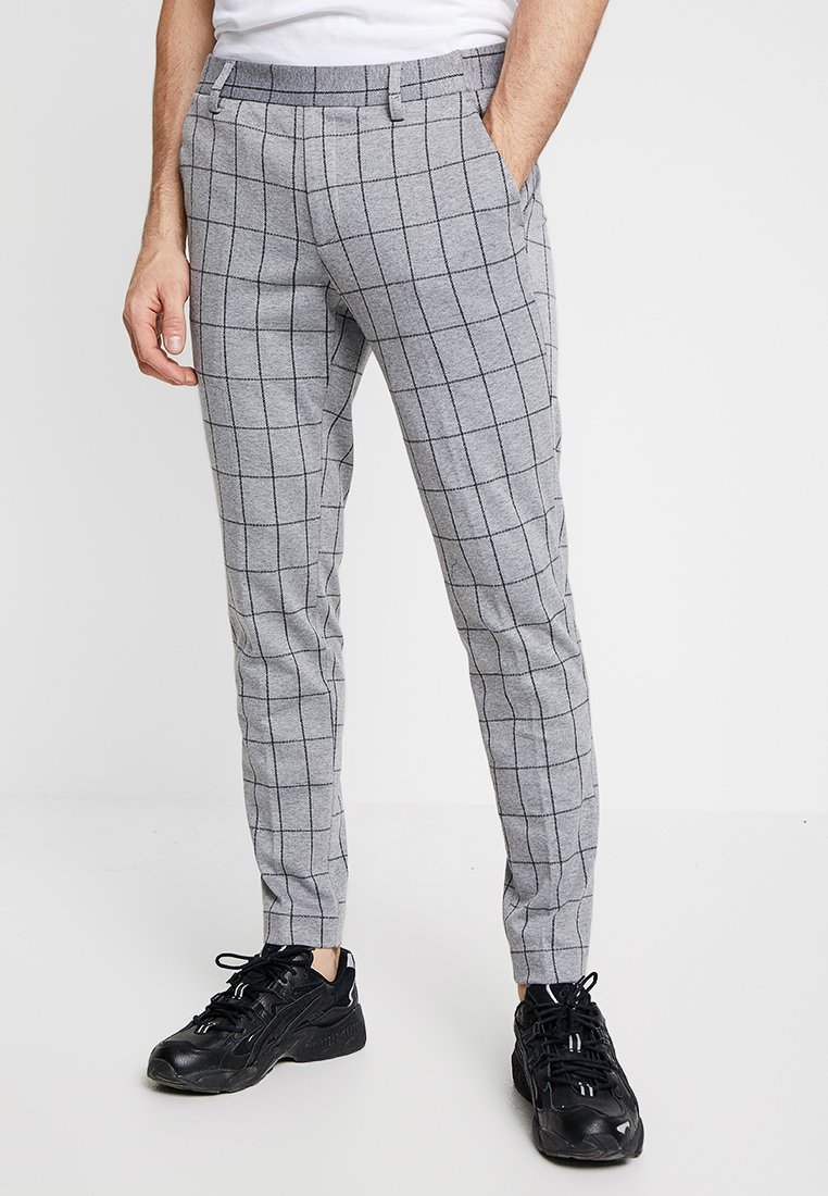 Only & Sons - ONSCARL CHECK - Trousers - light grey melange