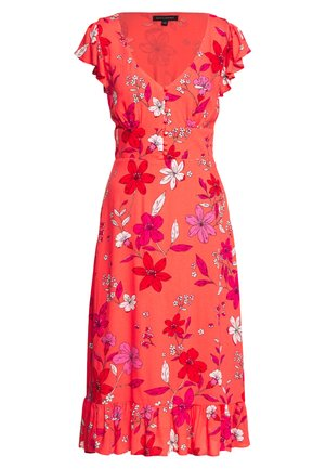 VNECK FRONT MIDI SHEATH PRINT - Robe d'été - red