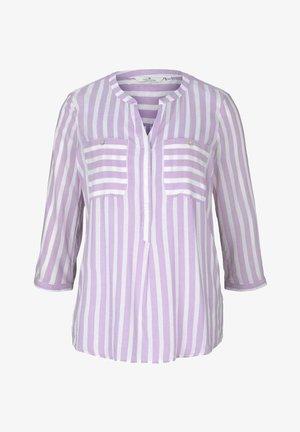 Blouse - lilac white vertical stripe