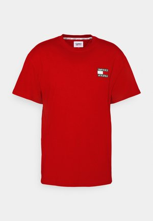 WASHED TOMMY BADGE TEE - T-shirt con stampa - deep crimson