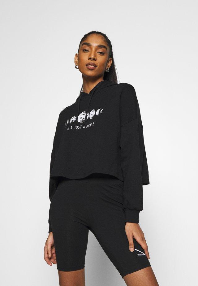 Printed Oversized Sweatshirt - Mikina - black