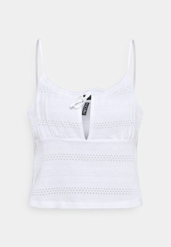 PCTAYLEES SHORT STRAPPED TOP - Bluzka - bright white